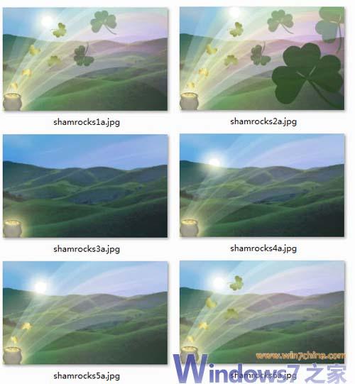 微软官方Windows7主题包下载 三叶草图片
