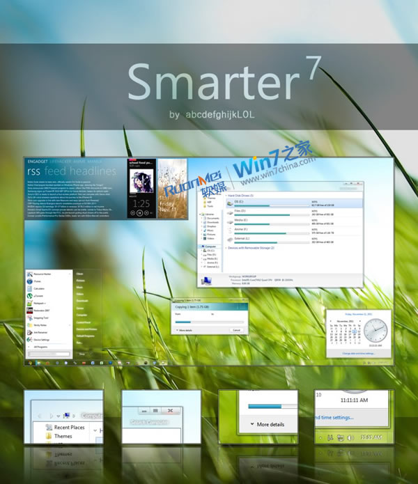 Win7主题:Smarter7   ——   新版下载,清新细腻质感
